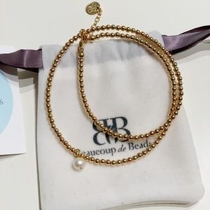 14k gold bracelet with pearl ornament